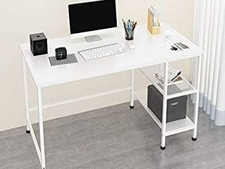 JOISCOPE laptop Desk with Grid Drawer  Computer Desk with Shelf  63 inches black With Vintage Oak Top  Actual Color Is Different Then Stock Photo