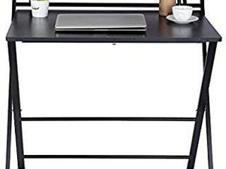 Small Folding Desk Computer Desk for Small Space Home Office Simple laptop Writing Table No Assembly Required  Black