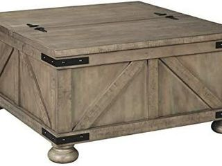 Signature Design by Ashley   Aldwin Farmhouse Storage Coffee Table  Brown Pine Wood   MISSING 2 lEGS