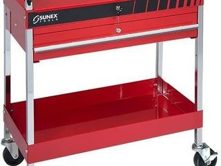 Service Cart with locking Top and locking Drawer  Red