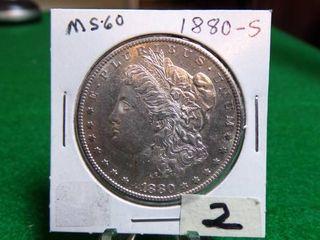 1880 S MORGAN DOllAR MS60
