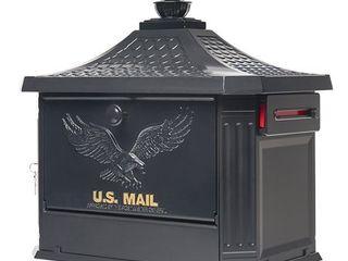 Gibraltar Mailboxes Hamilton locking large Capacity Cast Aluminum Black Post Mount Mailbox  HM200B00