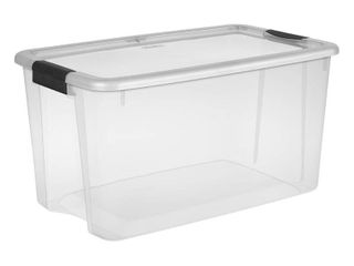 Sterilite 70 Qt  Ultra Storage Box  Clear Base with NO Clear lid and Black latches