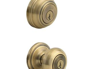 Kwikset 991 Juno Entry Knob and Single Cylinder Deadbolt Combo Pack featuring SmartKeyAr in Antique Brass