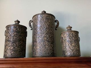 3 Decorative Metal Canisters