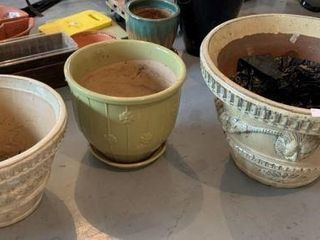 3 Large Pottery Flower Pots