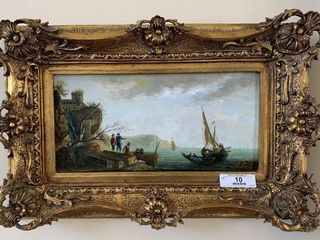 Ornately Framed Painting - Oil on Board