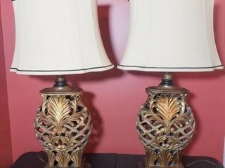 Pair of Open Carved/Pierced Resin Lamps with