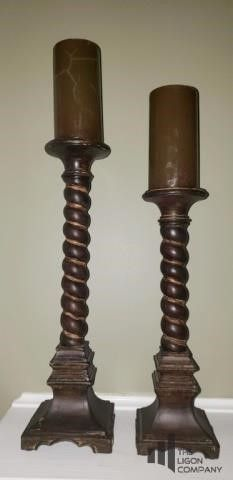 Pair of Turned Wood Candle Holders