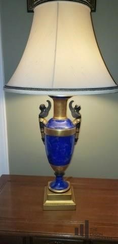 Blue and Gold Tone Grecian Style Lamp