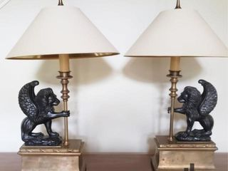 Pair of Chapman Winged Lion Bronzed Brass Lamps