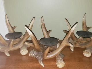 Set of Three Faux Deer Antler Candle Holders