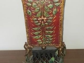 Red Tole Case Mold Metal Vase