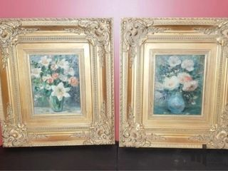 Pair of Framed Oil on Canvas Florals by LeBlanc
