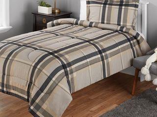 Mainstays Twin or Twin Xl Plaid Printed Black   Tan Comforter Mini Set  2 Piece