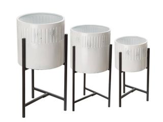 Glitzhome Washed White Metal Plant Stands Set of 3