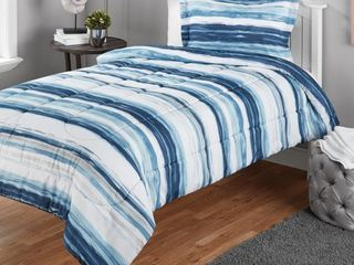 Mainstays Twin or Twin Xl Watercolor Stripe Printed Comforter Mini Set  2 Piece