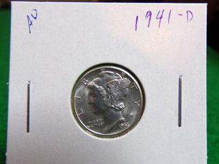 1941 D MERCURY DIME AU