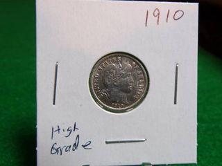 1910 BARBER DIME HIGH GRADE