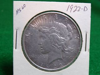 1922 D PEACE SIlVER DOllAR MS60