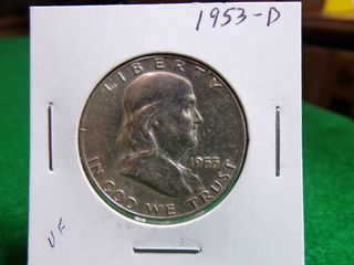1953 D FRANKlIN HAlF DOllAR VF