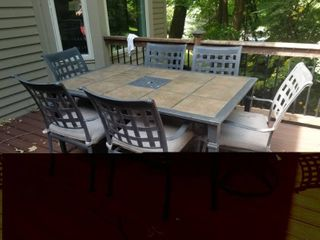Stylish Stone Top Outdoor Dining Set