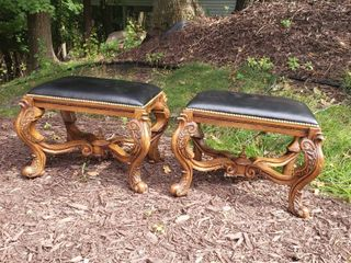 Pair of Intricately Carved Reversable Benches/Chess Boards