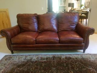 Deluxe Cordovan Leather Sofa by Whittemore-Sherril