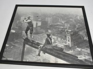 Vintage TEE TIME - Golfer Teeing Off on Girder High Above City Photograph