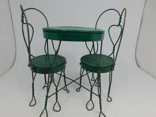 Vintage Small Metal Table and Chairs for Dolls