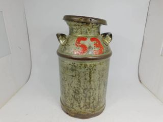 Vintage Galvanized Metal Milk Can with Cover