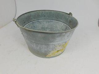 Original Vintage Galvanized Heavy Metal Wash Tub