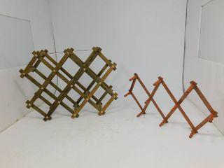 Vintage Rustic Wine Rack / Vintage Accordion Coat Rack with Peg Hooks