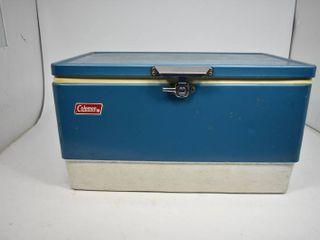 Vintage Coleman Blue/White Metal Cooler
