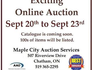 Exciting Online Auction Starts Sept 20 at 4pm
