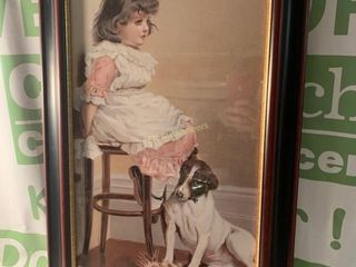 LITTLE GIRL WITH DOG PRINT