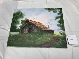 RIEDL HANDPAINTED OLD BARN PRINT