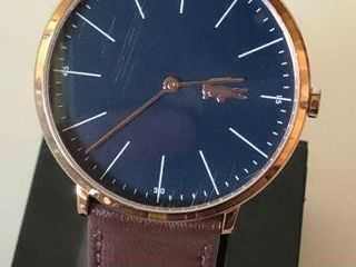 LACOSTE MENS BLUE DIAL BROWN LEATHER WATCH-USED /