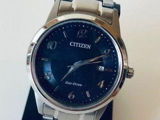 CITIZEN ECO DRIVE MENS BLUE DIAL STAINLESS STEEL W