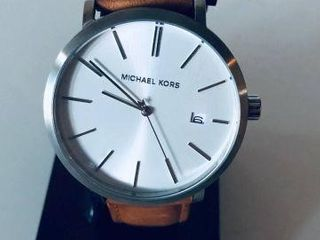 MICHAEL KORS MENS WHITE DIAL BROWN LEATHER WATCH-U