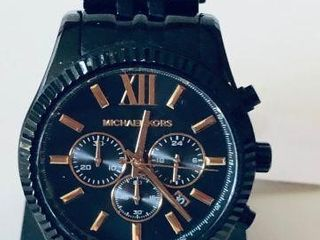 MICHAEL KORS MENS BLACK & ROSE GOLD CHRONOGRAPH WA