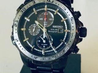 SEIKO SOLAR MENS BLACK PVD CHRONOGRAPH WATCH-USED