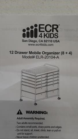 ELR 20104-A 12 DRAWER MOBILE ORGANIZER