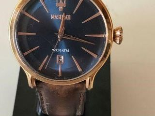 MASERATI MENS BLUE DIAL BROWN LEATHER WATCH-USED /