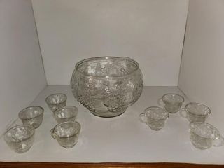 Glass Punch Bowl   Cups