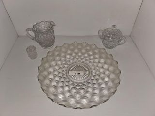Fostoria Serving Platter  Sugar Bowl  Pitcher
