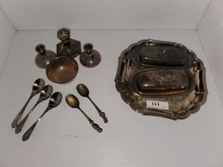 Rogers Silver Plate Tray  Butter Dishes  Spoons