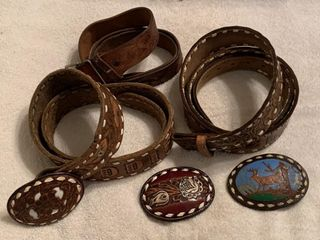 3 leather belts  3 belt buckles