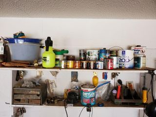 Paint  Buckets  Assorted Contents of Shelf