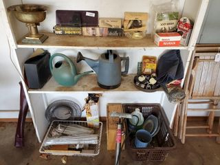 Watering Buckets  Air Pump  Contents of Shelf